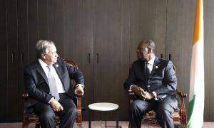 Alassane Ouattara à Beijing, en Chine.