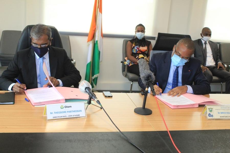 partenariat entre Olam Côte d'Ivoire et le secrétariat d'Etat chargé de la formation professionnelle