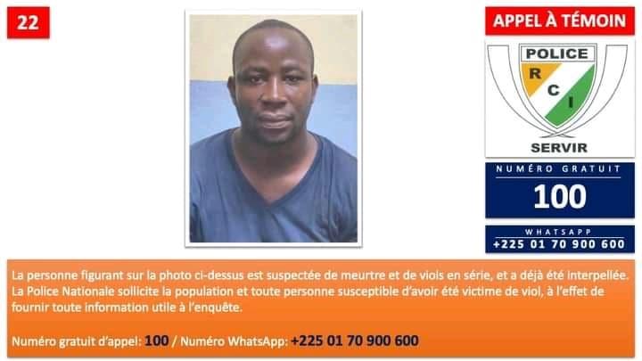 La police ivoirienne lance un appel à témoins contre un violeur en série