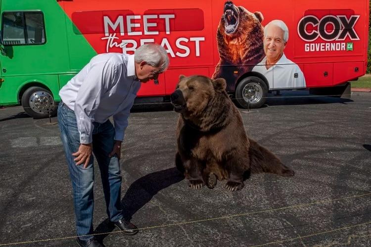 Un candidat au poste de gouverneur de Californie fait campagne avec un ours