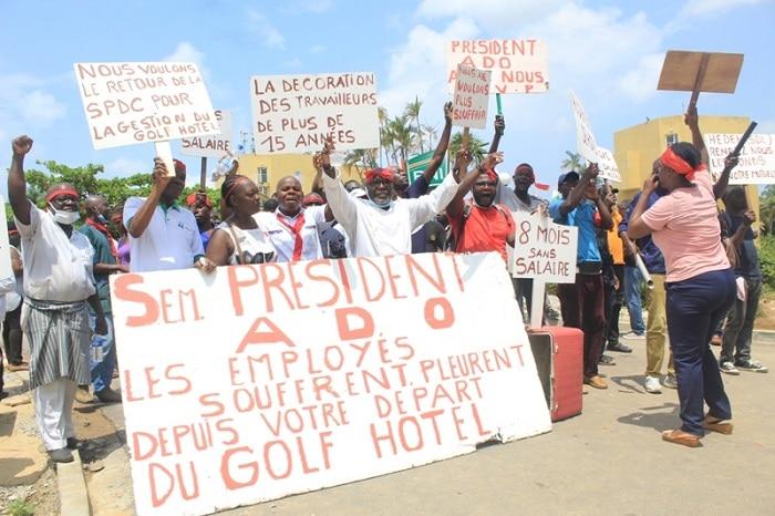 Des gents du Golf hôtel d'Abidjan en grève illimitée pour réclamer 8 mois de salaires